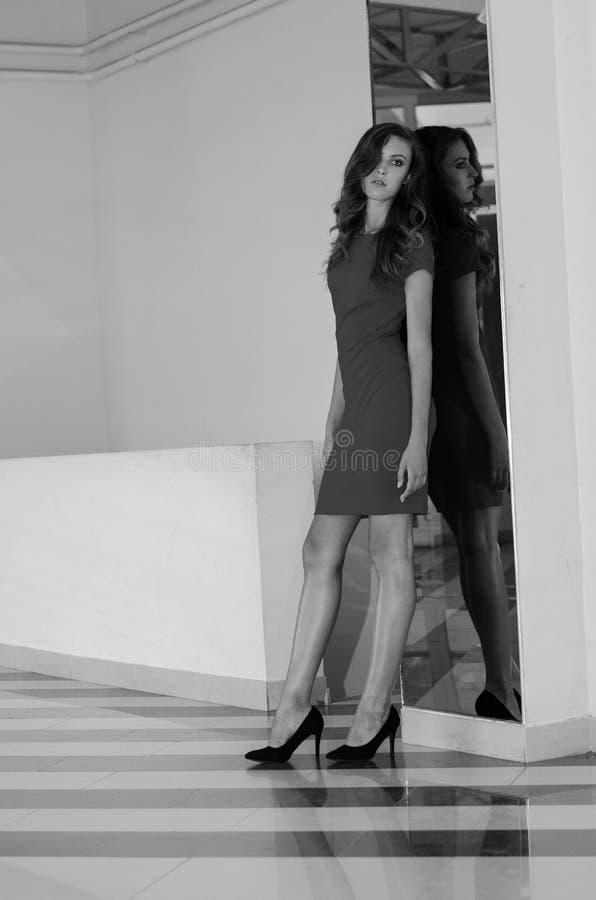 Belle femme avec le maquillage de cheveux foncés et de soirée Beauté de bijoux Photo de mode Fond noir, robe rouge sexy photographie stock libre de droits