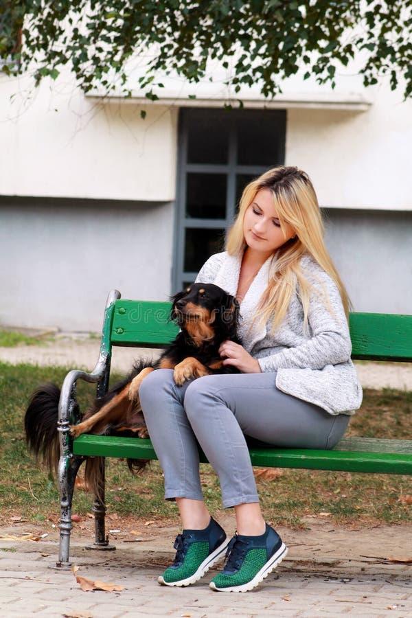 Belle femme avec son petit chien mélangé de race se reposant et posant devant la caméra sur le banc en bois au parc de ville images libres de droits