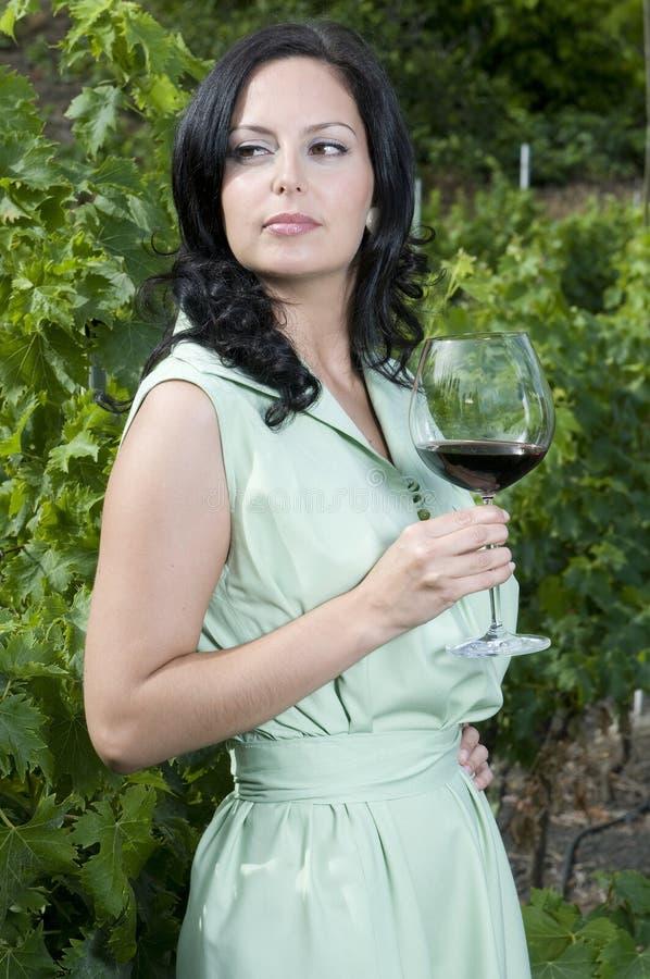 Belle femme ayant une glace de vin rouge photos stock