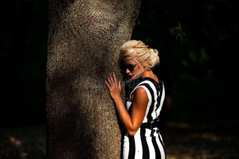 Belle femme blonde dans la forêt d'automne au coucher du soleil image stock