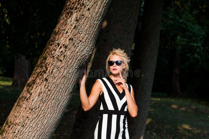 Belle femme blonde dans la forêt d'automne au coucher du soleil photographie stock