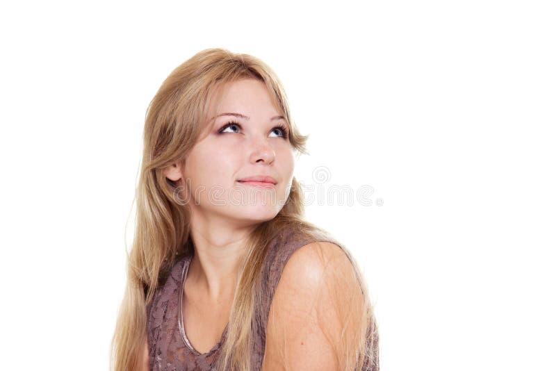 Belle femme blonde recherchant image stock