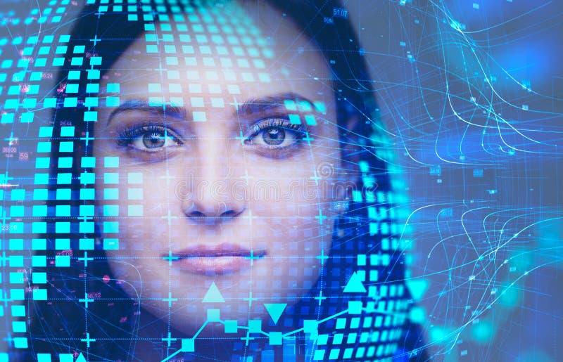 Belle femme caucasienne, hologramme de planète photos stock