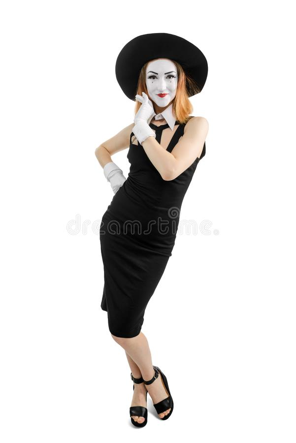 Belle femme comme actrice de pantomime image stock