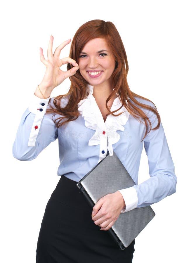 Belle femme d'affaires affichant normalement photographie stock libre de droits