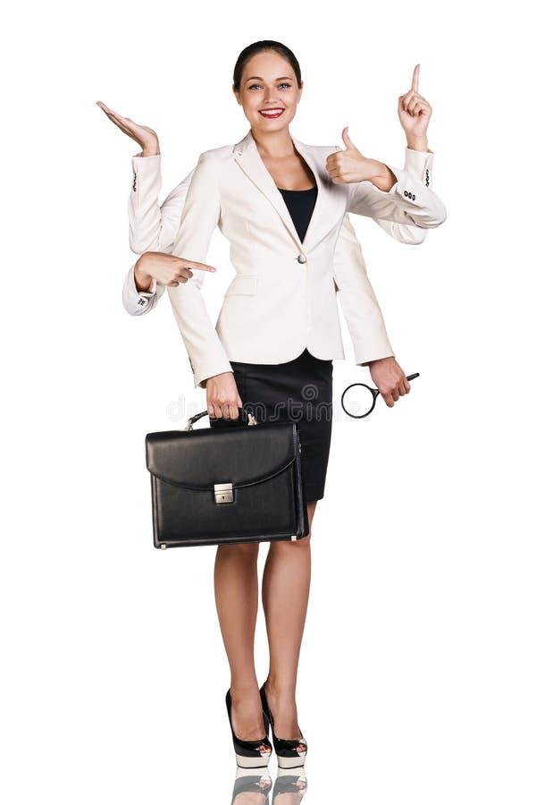 Belle femme d'affaires avec six bras photos stock