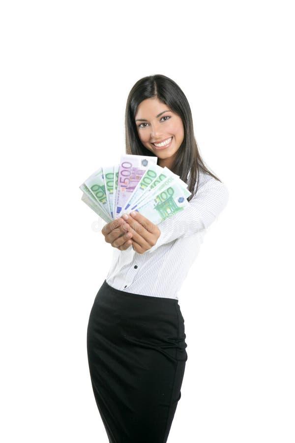 Belle femme d'affaires de réussite retenant d'euro notes images stock