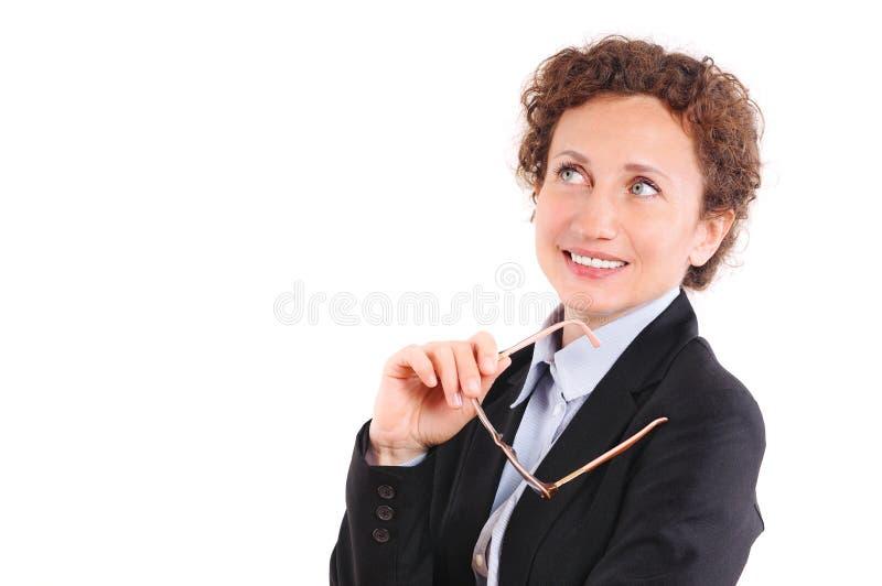 Belle femme d'affaires mûres en verres images libres de droits
