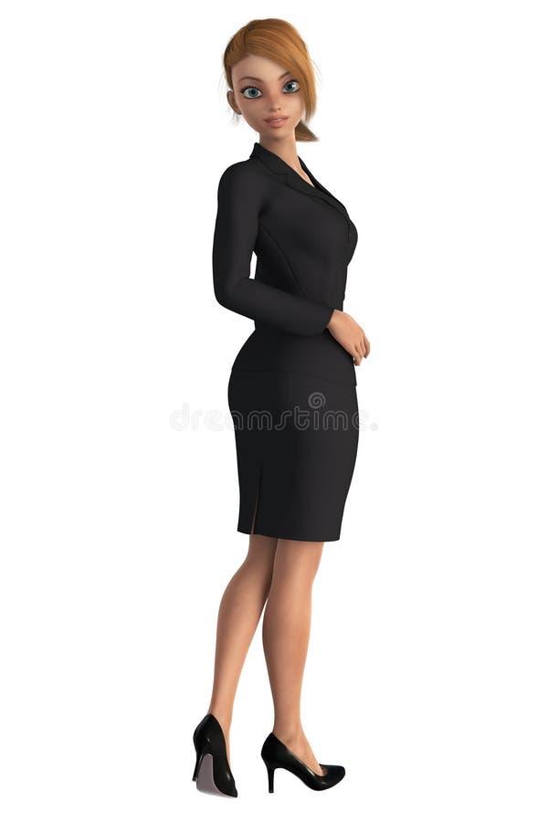 Belle femme d'affaires regardant l'appareil-photo en arrière illustration libre de droits