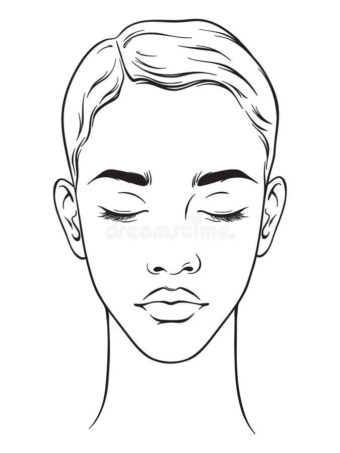 Belle femme d'afro-américain avec la coupe de cheveux courte et le portrait fermé de yeux d'isolement sur le fond blanc Maquillag illustration de vecteur