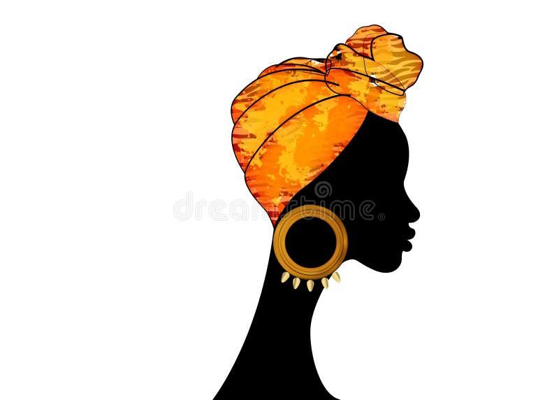 Belle femme d'Afro de portrait Turban traditionnel africain d'écharpe de Headtie de femmes de Headwrap de Shenbolen Ankara Envelo illustration stock