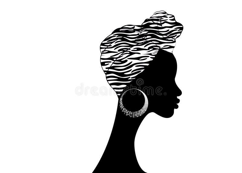 Belle femme d'Afro de portrait Turban traditionnel africain d'écharpe de Headtie de femmes de Headwrap de Shenbolen Ankara Envelo illustration libre de droits