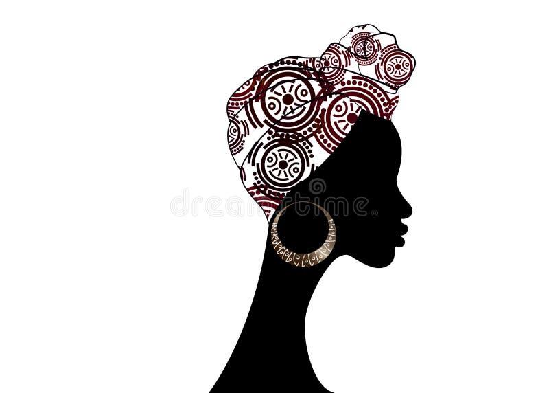 Belle femme d'Afro de portrait Turban traditionnel africain d'écharpe de Headtie de femmes de Headwrap de Shenbolen Ankara La têt illustration stock