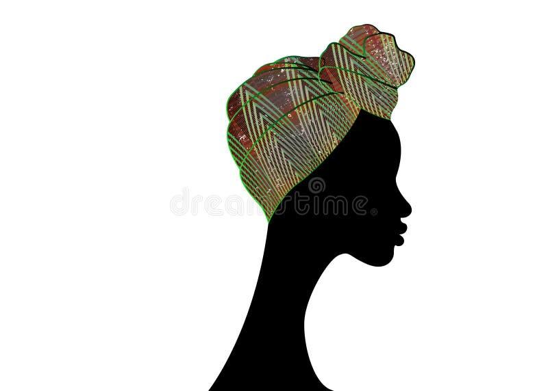Belle femme d'Afro de portrait Turban traditionnel africain d'écharpe de Headtie de femmes de Headwrap de Shenbolen Ankara Tête c illustration stock