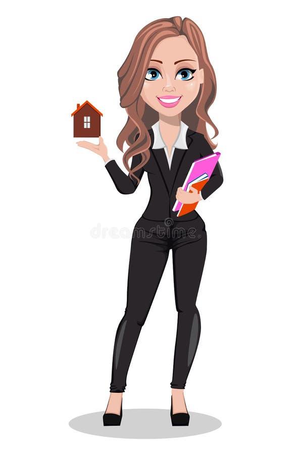 Belle femme d'agent immobilier Un vrai agent immobilier illustration stock
