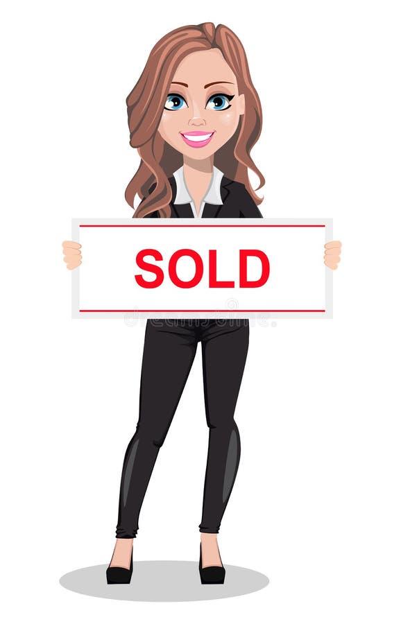 Belle femme d'agent immobilier Un vrai agent immobilier illustration de vecteur