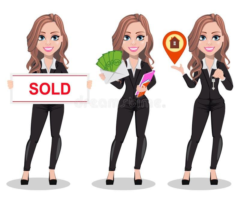 Belle femme d'agent immobilier Un vrai agent immobilier illustration libre de droits