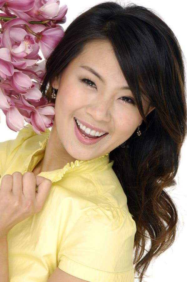 belle femme d'orchidée photographie stock