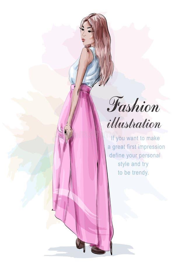 Belle femme dans des vêtements de mode : chemise légère bleue, jupe rose et chaussures élégantes croquis Regard de mode illustration de vecteur