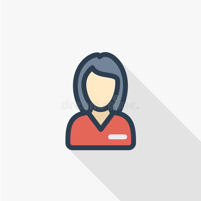 Belle femme dans la ligne mince icône plate d'avatar uniforme rouge de couleur Symbole linéaire de vecteur Longue conception colo illustration libre de droits