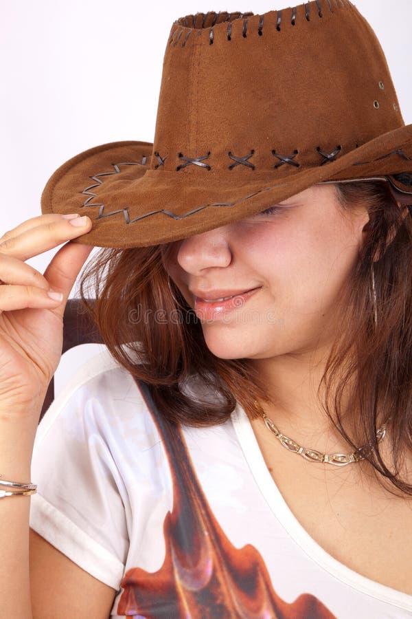 Belle femme dans le chapeau de cowboy images libres de droits