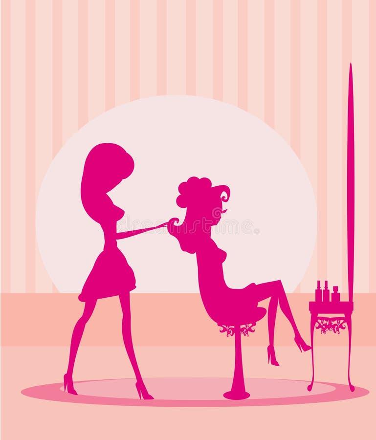 belle femme dans le salo de coiffure