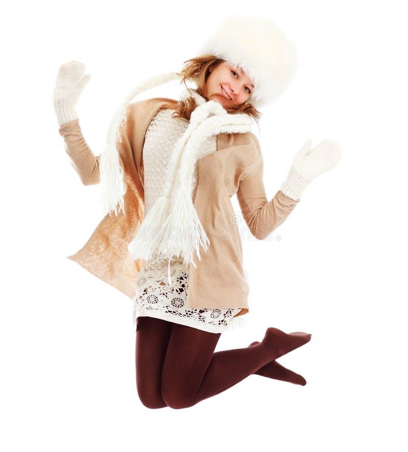 Belle femme dans le vêtement chaud dans la mouche photo libre de droits