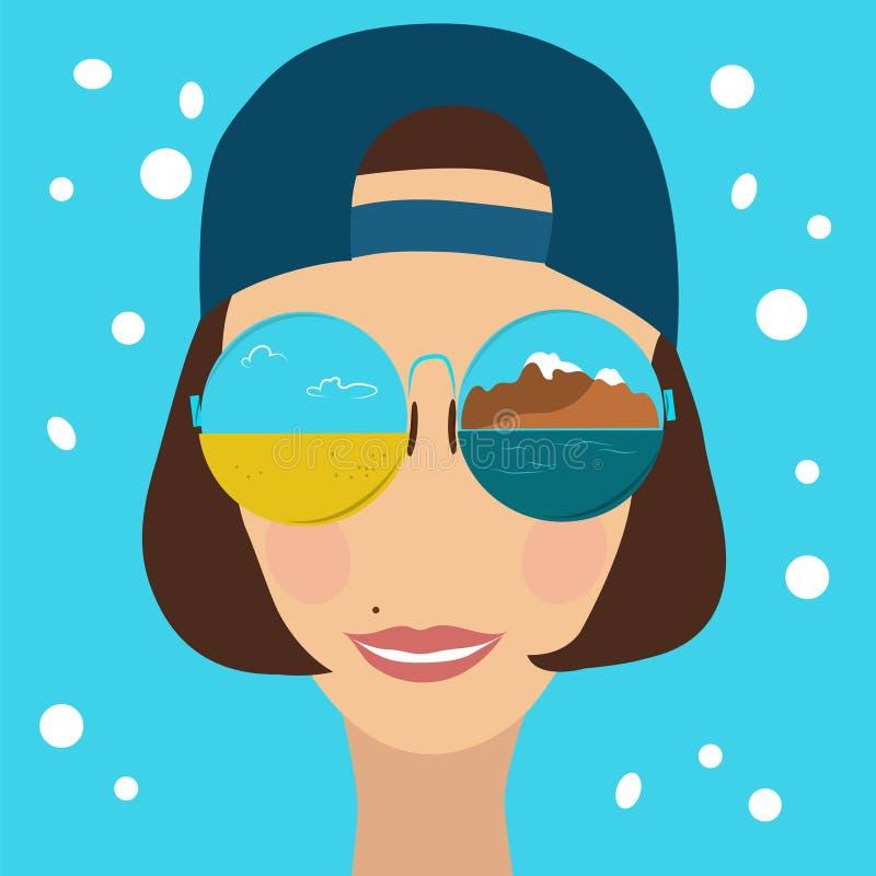 Belle femme dans les lunettes de soleil et une casquette de baseball illustration stock