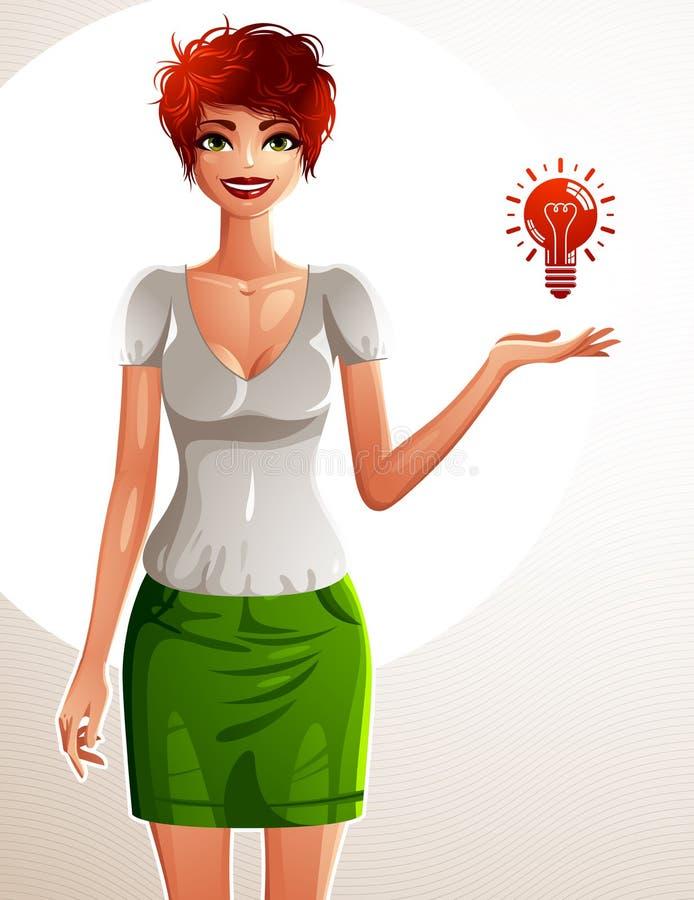 Belle femme de blanc-peau, portrait intégral Dessin coloré d'une fille mince mignonne montrant à l'ampoule pour dégrossir avec sa illustration libre de droits