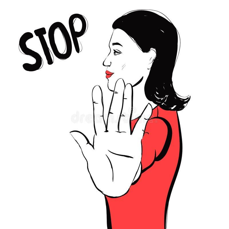 Belle femme de brune faisant des gestes un signe d'arrêt illustration libre de droits