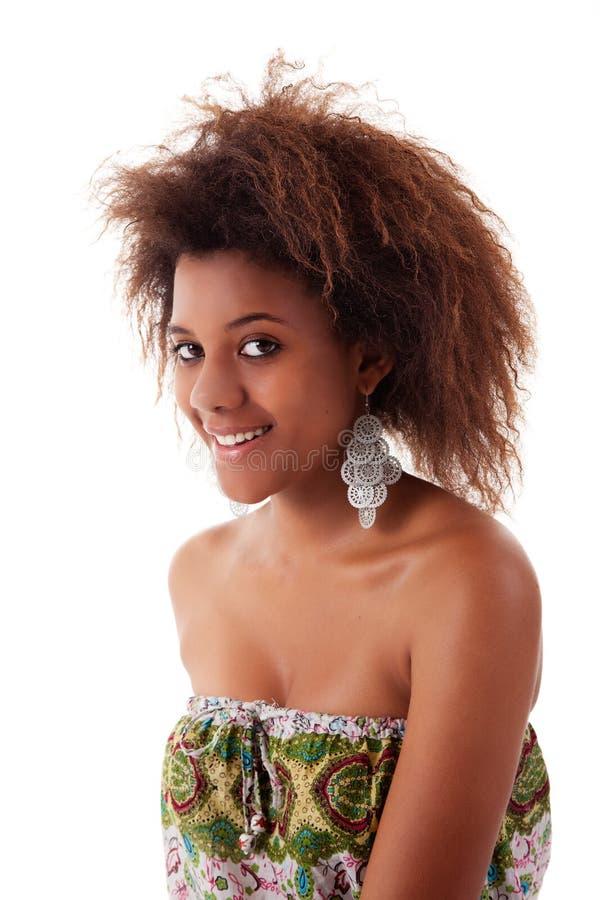 Belle femme de couleur, similing, photographie stock