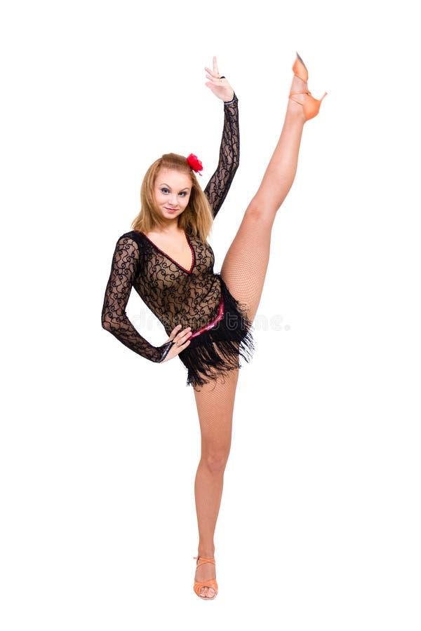 Belle femme de danseur de carnaval faisant des fentes images libres de droits