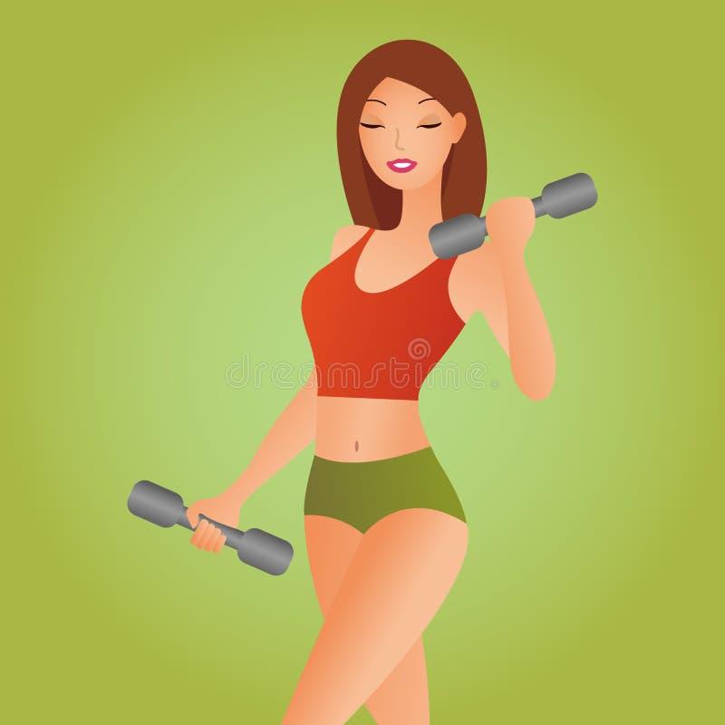 Belle femme de forme physique avec les haltères de levage Fille sportive montrant son corps bien entraîné Muscles bien développés illustration libre de droits