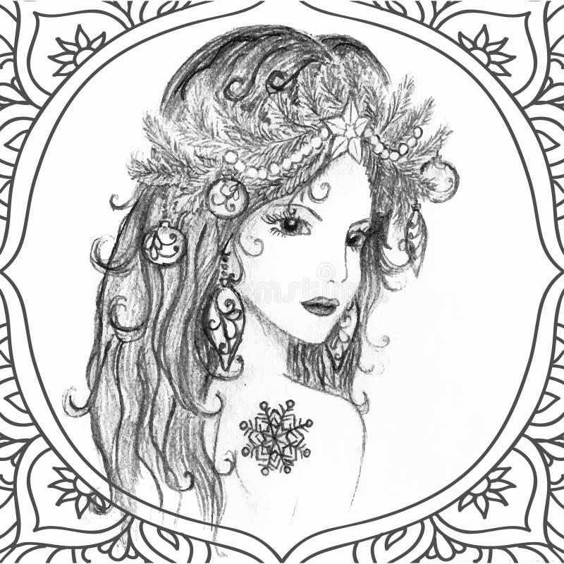 Belle femme de Noël tiré par la main illustration stock