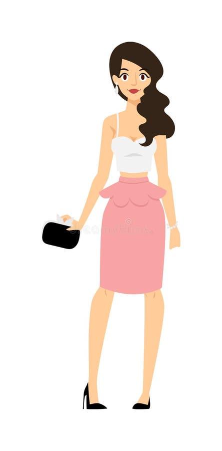 Belle femme de portrait intégral dans la robe de soirée élégante posant le vecteur de caractère de charme de mode illustration stock