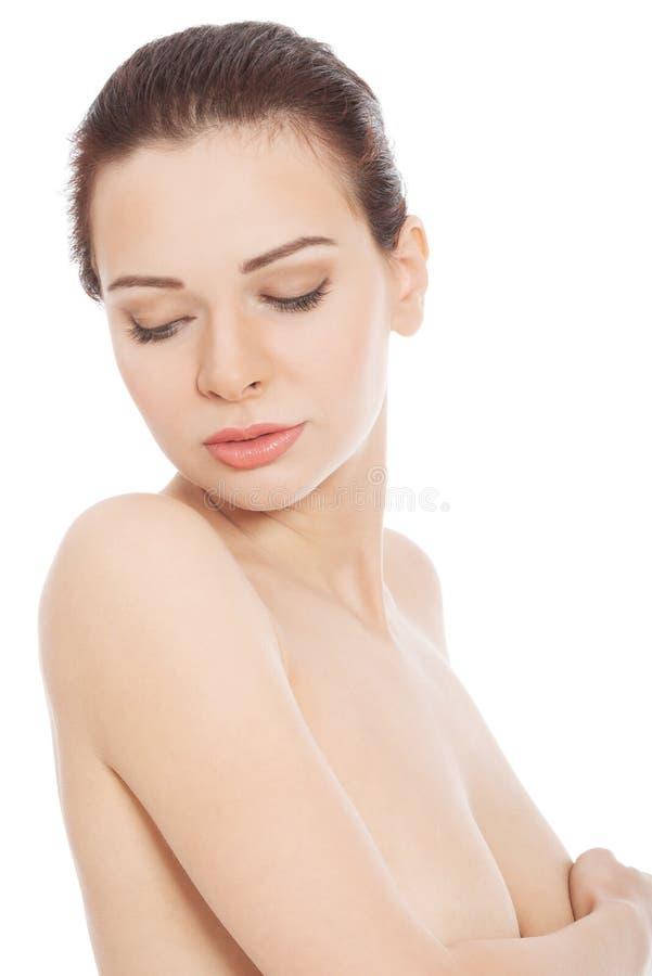 Belle femme de torse nu. image stock