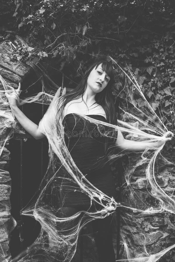 Belle femme en toile d'araignée images libres de droits