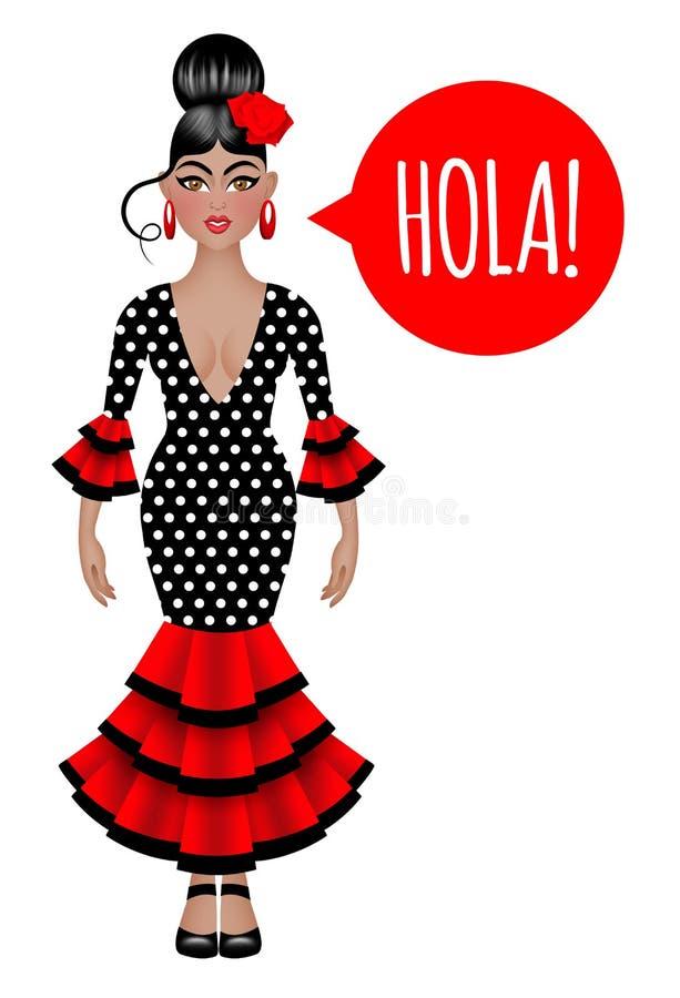 Belle femme espagnole dans la robe traditionnelle de flamenco photo libre de droits