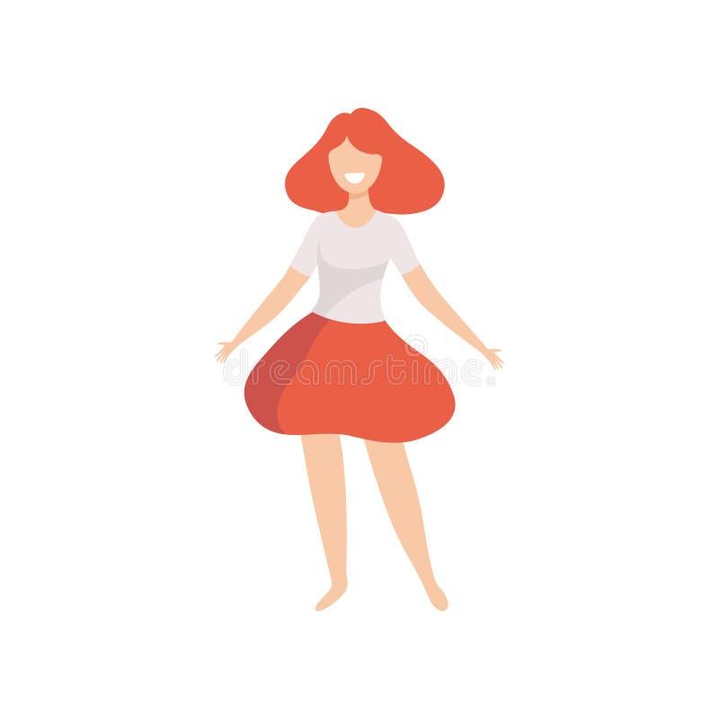 Belle femme heureuse dans les vêtements sport, le positif de corps, l'acceptation d'individu et l'illustration de vecteur de conc illustration stock