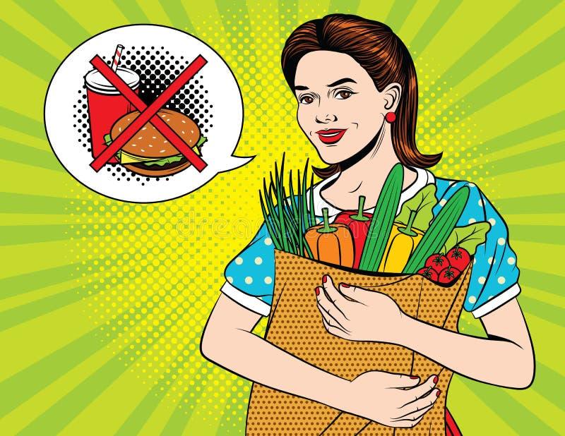 Belle femme heureuse faisant l'épicerie de santé illustration de vecteur