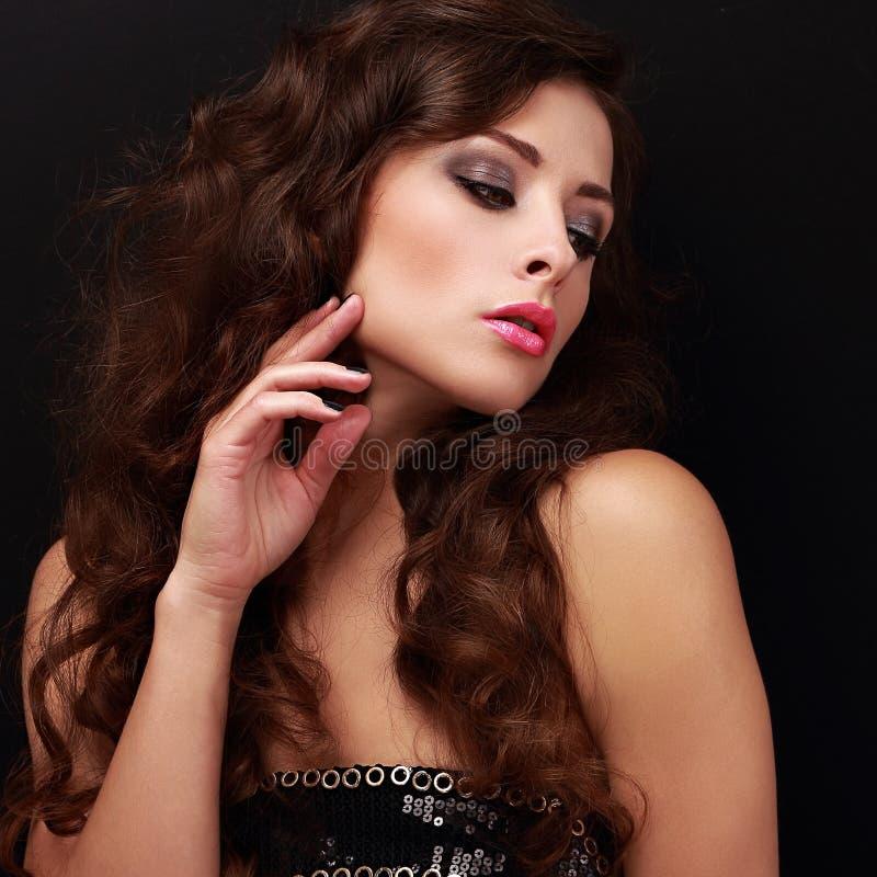 Belle femme intelligente de charme de maquillage image libre de droits