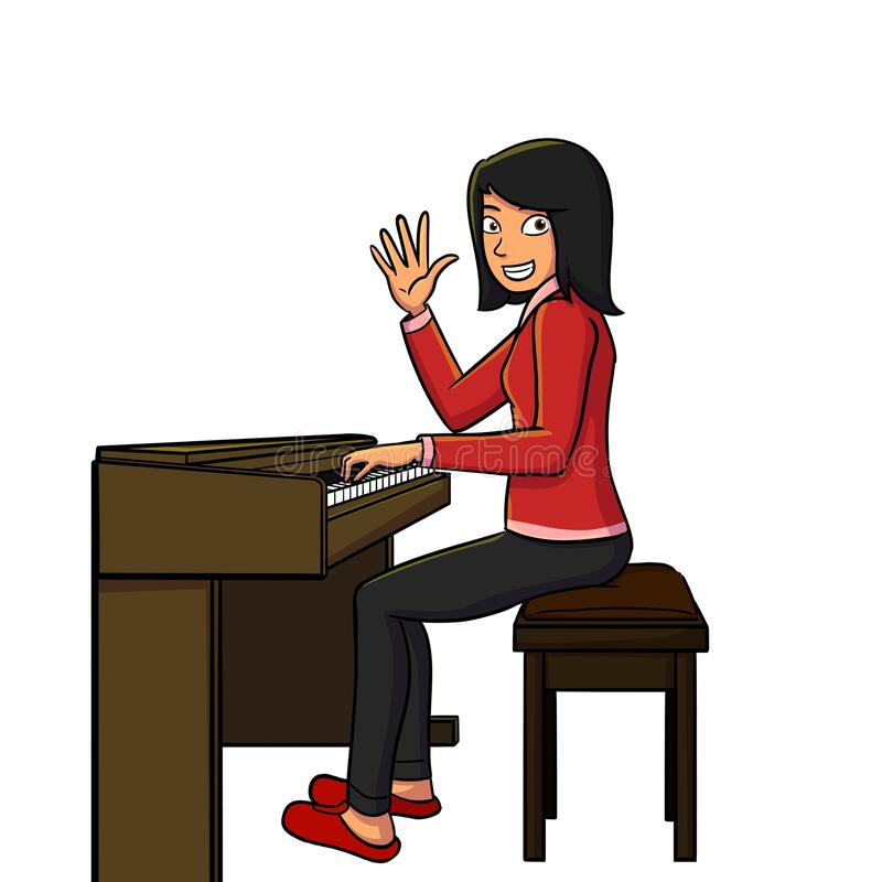 Belle femme jouant le piano images stock