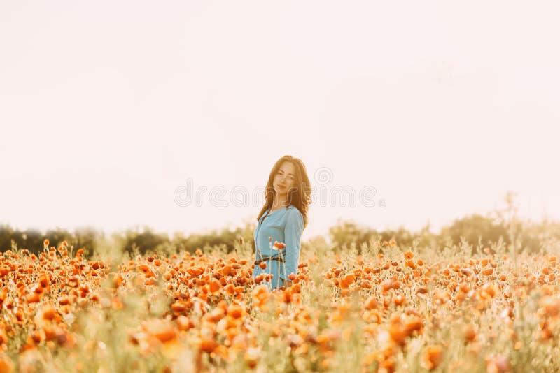 Belle femme marchant dans le domaine de fleur photos libres de droits