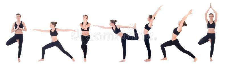 Belle femme mince dans différentes poses de yoga d'isolement sur le blanc photos stock