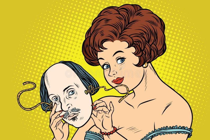 Belle femme mystérieuse avec un masque de Shakespeare illustration stock