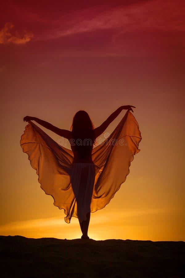 Belle femme posant au coucher du soleil images stock