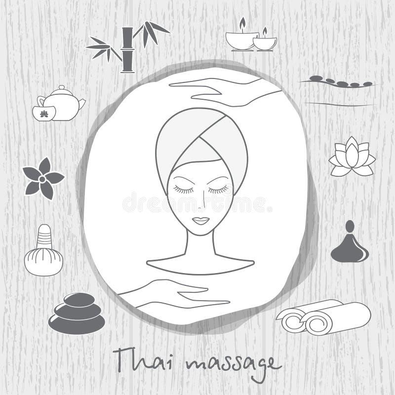 Belle femme prenant le traitement facial de massage Massage thaï Les icônes de station thermale ont placé sur le fond en bois dan illustration stock