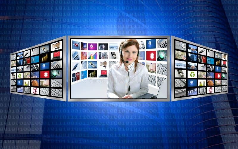 Belle femme rousse des nouvelles TV sur l'affichage 3d illustration stock