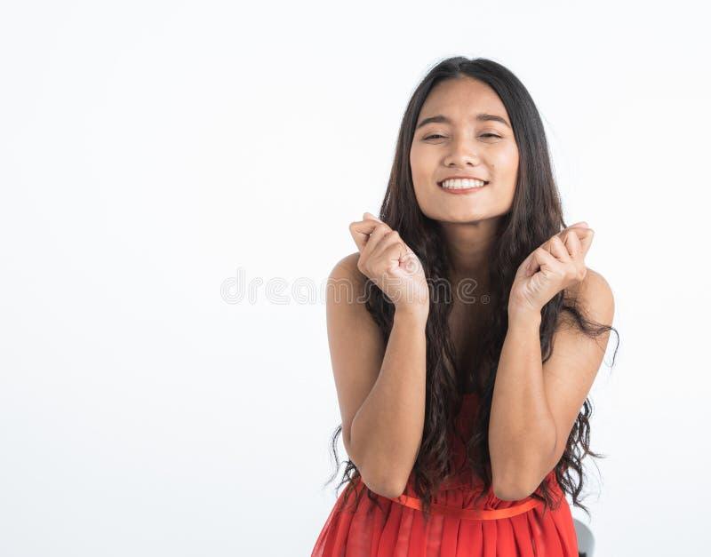 Belle femme sentant enthousiaste très heureux image libre de droits