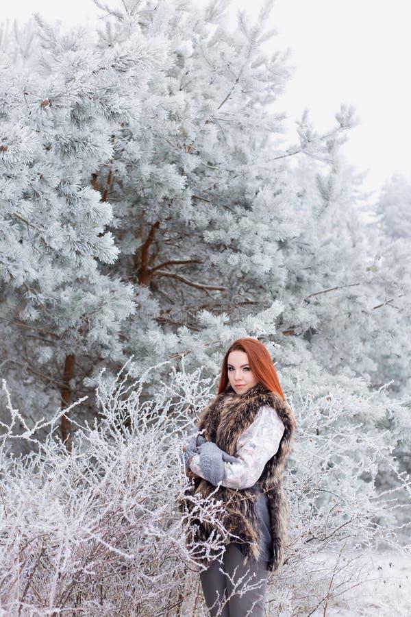 Belle femme sexy avec des cheveux rouges lumineux doux doux marchant sur bois neigeux congelés photographie stock